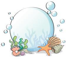 Um, bola cristalina, com, seashells vetor