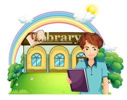 Um, menino, segurando, um, livro, ficar, frente, a, biblioteca