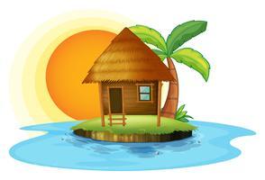 Uma ilha com uma pequena cabana vetor
