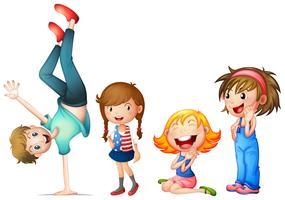Personagens de crianças em fundo branco vetor