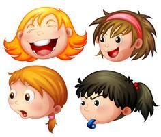 Quatro meninas, com, diferente, emoções vetor
