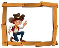 Modelo de quadro com cowboy vetor