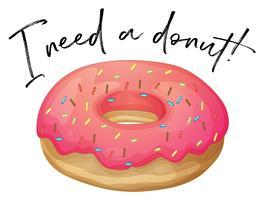 Frase eu amo donut com donut de morango vetor