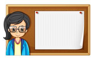 Mulher, com, óculos, e, tábua vetor