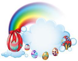 Ovos de Páscoa acima das nuvens vetor