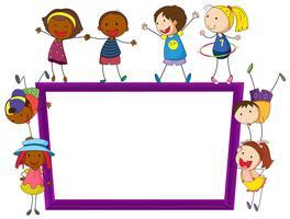 Crianças e quadro vetor