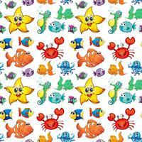 Design sem costura com criaturas do mar