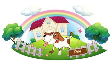 Um cão, guardando uma casa vetor