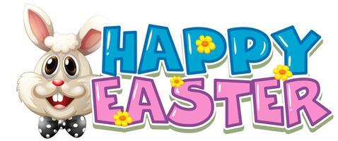 Cartaz de Páscoa feliz com coelho branco