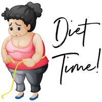 Menina com excesso de peso, com tempo de dieta de frase vetor