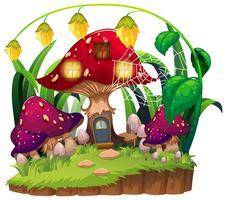 Casa de cogumelo no jardim vetor