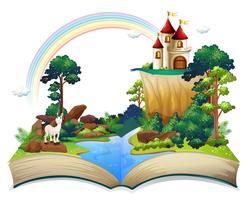 Um livro com um castelo na floresta vetor