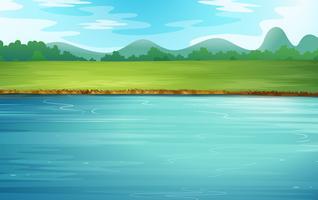 Um rio e uma bela paisagem vetor