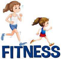 Fitness palavra e duas meninas correndo vetor