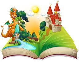 Livro de dragão e cavaleiro vetor