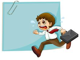 Um homem suado correndo na frente do papel vazio com um clipe vetor