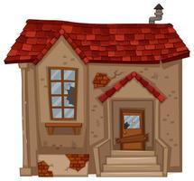 Casa antiga com telhado vermelho vetor