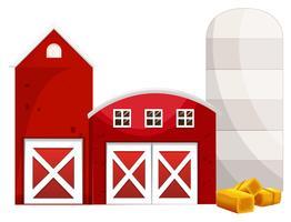 Dois celeiros vermelhos e silo vetor