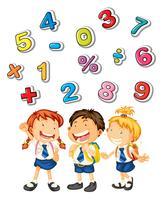 Crianças da escola e muitos números vetor
