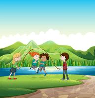 Crianças brincando de pular corda na beira do rio vetor