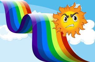 Um sol franzindo a testa perto do arco-íris vetor