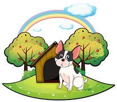 Um cachorro ao lado de uma casa de cachorro vetor