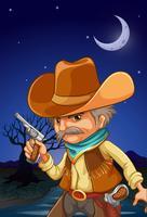 Um, homem, desgastar, um, chapéu, segurando uma arma, perto, a, rio vetor