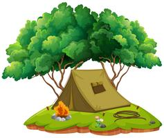 Camping terreno com tenda e fogueira vetor