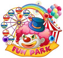 Palhaço feliz com banner de parque divertido vetor