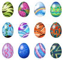 Ovos de Páscoa coloridos vetor