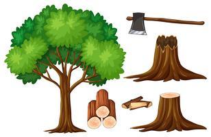 Árvore e toco de árvores vetor