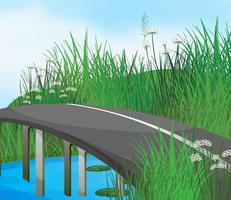 Uma estrada curva no rio
