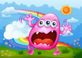 Um monstro gritando no topo da colina vetor