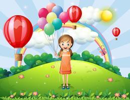 Um, menina, segurando, balões vetor