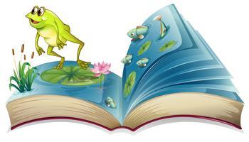 Um livro com uma imagem de um sapo e peixes vetor