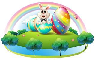 Um coelho dentro do ovo de páscoa vetor