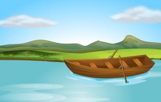 Um rio e um barco vetor