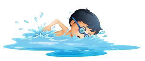 Um, criança, natação vetor