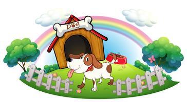 Uma casinha dentro da cerca com um filhote de cachorro