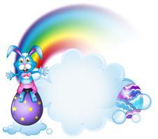 Um coelho acima do ovo perto do arco-íris vetor