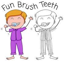 Um, menino, dentes escovando vetor