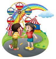 Meninos aperto de mão na frente do carnaval vetor