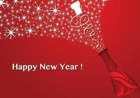Papel de Parede Vetorial Vermelho de Ano Novo Champanhe vetor