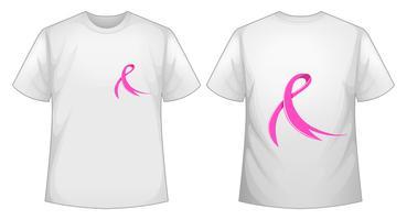 Fita rosa na frente de t-shirt branca e costas vetor