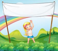 Uma menina exercitando na frente do banner vazio
