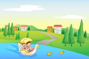 um rio e crianças vetor
