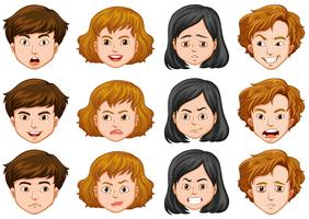 Pessoas com diferentes expressões faciais vetor
