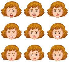 Mulher, com, diferente, expressões faciais vetor