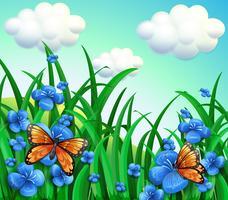 Um jardim com flores azuis e borboletas laranja