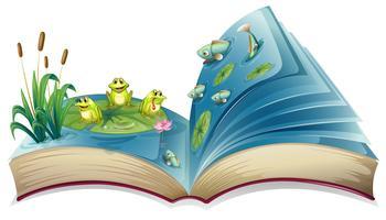 Um livro com uma imagem dos sapos e peixes na lagoa vetor